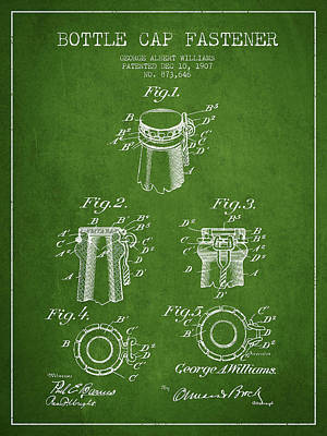 Bottle Cap Digital Art - Bottle Cap Fastener Patent Drawing From 1907 - Green by Aged Pixel