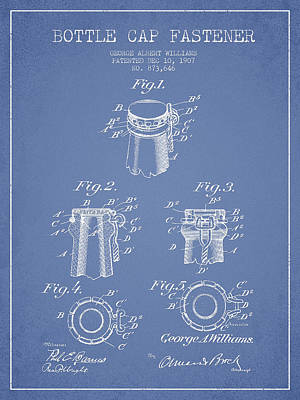Beer Royalty-Free and Rights-Managed Images - Bottle Cap Fastener Patent Drawing from 1907 - Light Blue by Aged Pixel