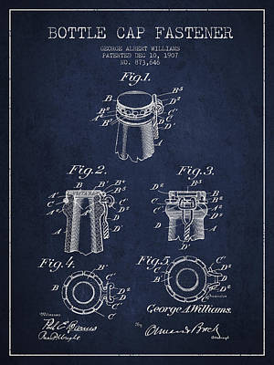 Beer Royalty-Free and Rights-Managed Images - Bottle Cap Fastener Patent Drawing from 1907 - Navy Blue by Aged Pixel