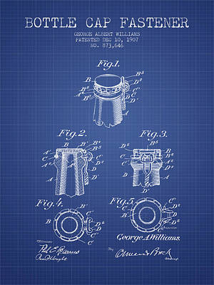 Beer Royalty-Free and Rights-Managed Images - Bottle Cap Fastener Patent from 1907- Blueprint by Aged Pixel