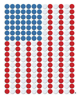 Bottle Cap Flag Art Print by Gary Grayson