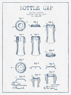Beer Royalty-Free and Rights-Managed Images - Bottle Cap Patent Drawing from 1899 - Blue Ink by Aged Pixel