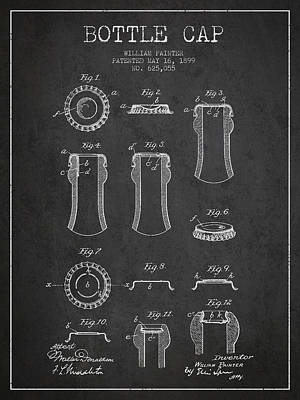 Beer Digital Art - Bottle Cap Patent Drawing from 1899 - Dark by Aged Pixel