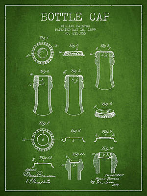 Beer Royalty-Free and Rights-Managed Images - Bottle Cap Patent Drawing from 1899 - Green by Aged Pixel