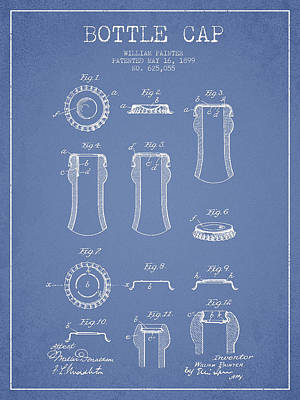 Beer Royalty-Free and Rights-Managed Images - Bottle Cap Patent Drawing from 1899 - Light Blue by Aged Pixel