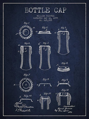 Beer Royalty-Free and Rights-Managed Images - Bottle Cap Patent Drawing from 1899 - Navy Blue by Aged Pixel