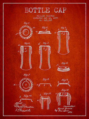 Beer Royalty-Free and Rights-Managed Images - Bottle Cap Patent Drawing from 1899 - Red by Aged Pixel