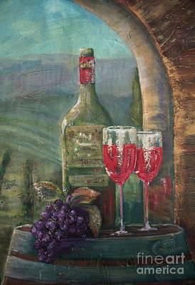 Wine Barrel Painting - Bottle For Two Closeup by Jodi Monahan