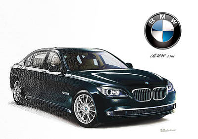 Digital Art - Bottle-green 2013 Bmw 750i With Badge  by Serge Averbukh