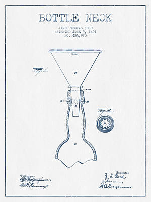 Bottle Neck Patent From 1891 -  Blue Ink Art Print by Aged Pixel