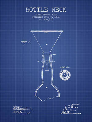 Bottle Neck Patent From 1891 - Blueprint Art Print by Aged Pixel