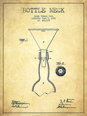 Beer Royalty-Free and Rights-Managed Images - Bottle Neck patent from 1891 - Vintage by Aged Pixel