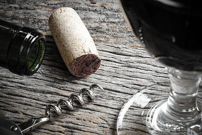 Winery Photograph - Bottle Of Red Wine With Cork Corkscrew And Glass Of Red Wine by Brandon Bourdages