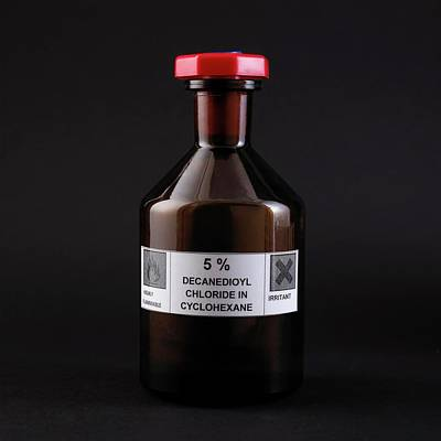 Bottle Of Sebacoyl Chloride Solution Print by Science Photo Library