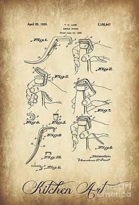 Caligraphy Photograph - Bottle Opener Patent by Clare Bevan