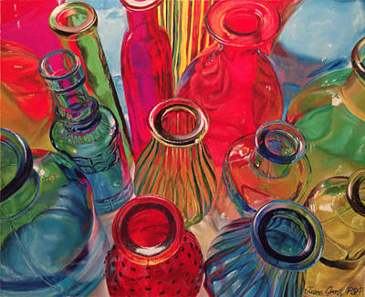 Painting - Bottle Tops by Joanne Grant