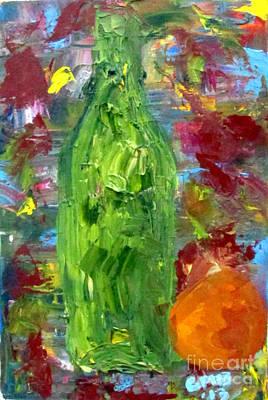 Naturaleza Muerta Painting - Bottle With Orange by Greg Mason Burns