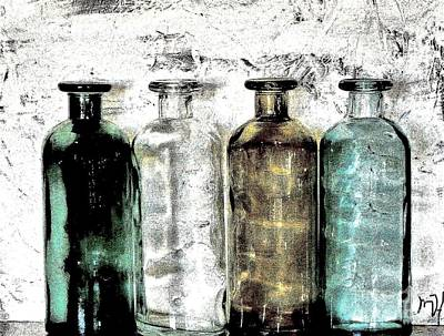 Bottles Against The Wall Art Print by Marsha Heiken