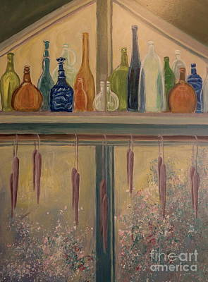 Painting - Bottles And Candle Window by Gretchen Allen