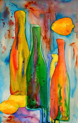 Stylized Beverage Painting - Bottles And Lemons by Beverley Harper Tinsley