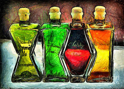Chemical Drawing - Bottles - Drawing by Daliana Pacuraru