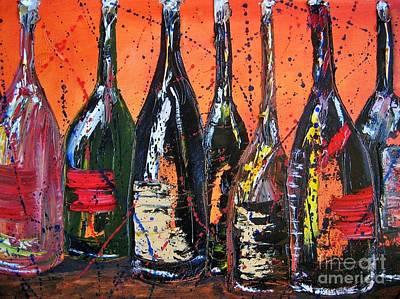 Wine Bottle Painting - Bottle's Enjoyed by Jodi Monahan