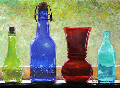 Painting -  Da142 Bottles Of Time Daniel Adams by Daniel  Adams