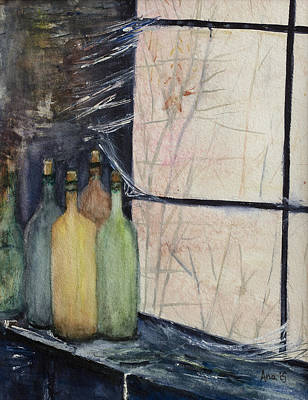 Painting - Bottles Of Wine In Cellar by Anais DelaVega