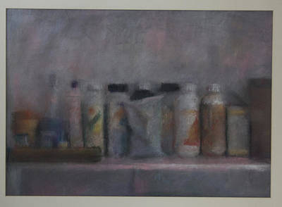 Bottles On A Shelf II Art Print