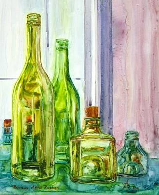 Painting - Bottles - Shades Of Green by Anna Ruzsan