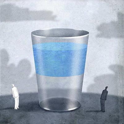 Pessimist Digital Art - Bottom Half Empty by Steve Dininno