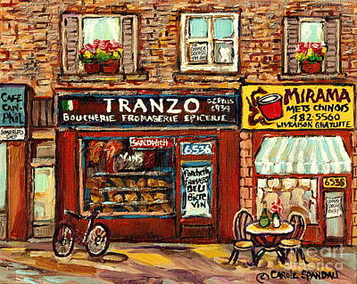 Store Fronts Painting - Boucherie Tranzo And Mirama Chinese Food Montreal Storefront Paintings City Scenes Carole Spandau by Carole Spandau