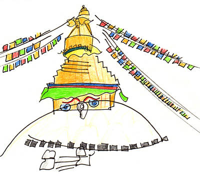 Painting - Boudhanath Stupa by Anna Elkins