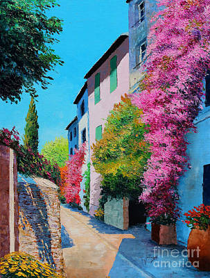 Oil Pastel Digital Art - Bougainvillea In Grimaud by Jean-Marc Janiaczyk