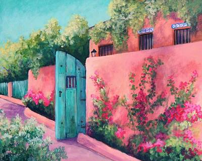 Southwest Gate Painting - Bougainvillea Wall by Candy Mayer