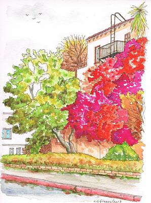 Bougainvilleas And A Green Tree In Hollywood - California Art Print by Carlos G Groppa