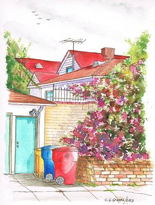 Bougainvilleas And Trash Cans In Westwood - California Art Print by Carlos G Groppa