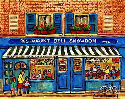 Decarie Painting - Boulangerie Charcuterie Restaurant Snowdon Deli Decarie Vintage Montreal Streets Carole Spandau Art by Carole Spandau