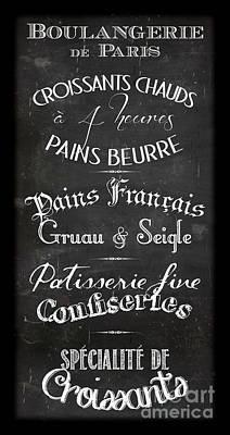 Typographic Digital Art - Boulangerie Menu by Marion De Lauzun
