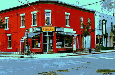 Boulangerie Patisserie Clarke Sandwich Shop Corner Depanneur Montreal Street Scene Art Art Print by Carole Spandau