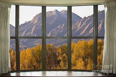 Photograph - Boulder Colorado Autumn Flatirons Bay Window View by James BO Insogna