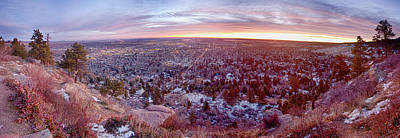 Photograph - Boulder Colorado Colorful Dawn City Lights Panorama by James BO  Insogna