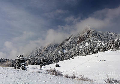 Mountains Photograph - Boulder Colorado Flatirons April Snow by James BO  Insogna