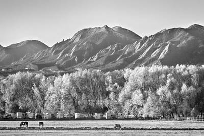 Photograph - Boulder County Colorado Flatirons View In Black And White by James BO  Insogna
