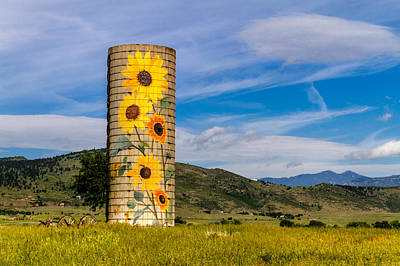 Boulder Ranch Sunflower Farm Silo Original by Teri Virbickis