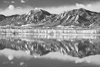 Photograph - Boulder Reservoir Flatirons Reflections Boulder Co Bw by James BO Insogna