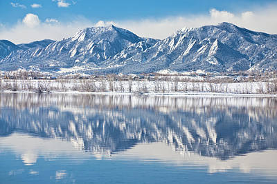 Photograph - Boulder Reservoir Flatirons Reflections Boulder Colorado by James BO  Insogna
