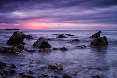 Photograph - Boulders In The Surf Wallis Sands  by Jeff Sinon