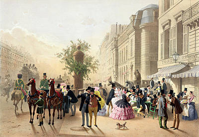 Horse And Carriage Painting - Boulevard Des Italiens From Physionomies De Paris by Eugene Charles Francois Guerard