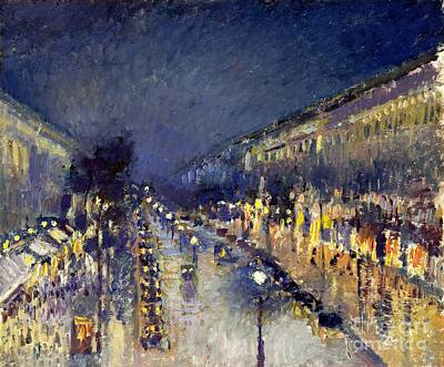 Painting - Boulevard Montmarte At Night by Pg Reproductions